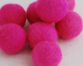 2.5cm Felt Balls - 20 Count - Hot Pink