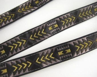 3 yards TRIBAL ARROWS Jacquard trim in mustard yellow brown taupe with Black edges 3/4 inch wide. 978-B
