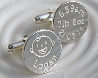 Personalised Sterling Silver New Daddy Cufflinks  - Father's Day Cufflinks - Personalised Father's Day Gift - Sterling Silver Dad Cufflinks