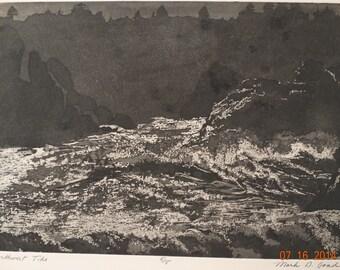 Vintage 1980's Art Print Nortwest Tide on Rag Paper, Texas Texan Artwork Texana Art Nautical Seascape Ocean Sea Landscape Waves Nautical