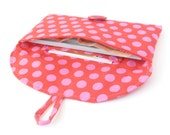 cash envelope wallet checkbook cover. red pink polka dot fabric womens coupon holder case. cute gift idea