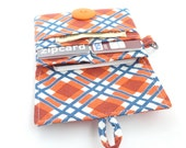 navy orange plaid wallet. womens little small slim minimalist card organizer. fabric vegan cloth material cotton