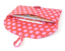 cute cash envelope wallet checkbook cover. red pink polka dot fabric womens coupon wallet. teen tween gift idea