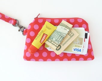 cute teen tween girl clutch zipper pouch. red pink polka dot wristlet. small make up bag. women gift idea