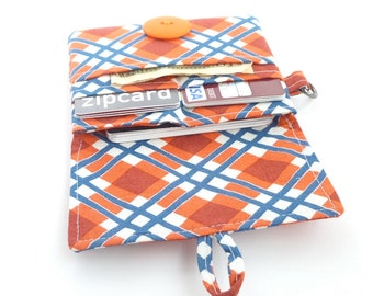 navy orange plaid wallet. womens little small slim minimalist card organizer. fabric vegan cloth material cotton