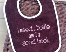 Bottle and Book Toddler Bib Embroidery on Brown / Pink or Brown & Blue