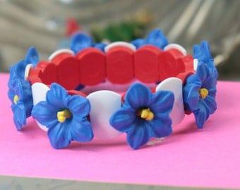 Blue Orchid Flower Bracelet - 203-4-1202 -BR
