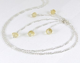 Citrine Faceted Nuggets and Sterling Silver Chain Y Necklace