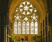 Church Photography Gothic Window Cyber Ireland Architecture Connemara Galway Kylemore Abbey Irish Photography, Wall Decor Gold Beige