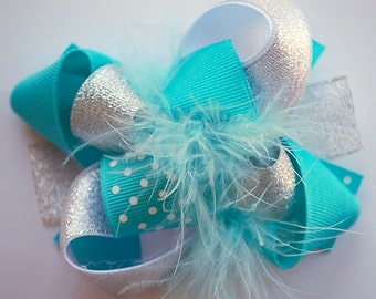 boutique ITSY-BITSY hip TURQUOISE and silver hair bow clip