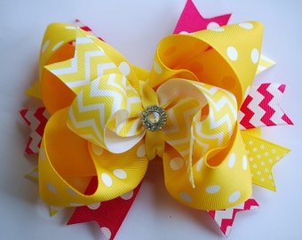NEW glam over-the-top loopy layered shocking PINK and YELLOW chevron hair bow clip