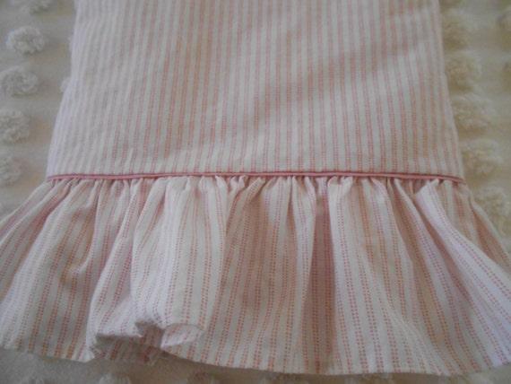 Vintage Laura Ashley Pink Amp White Mattress Ticking Stripe Flat