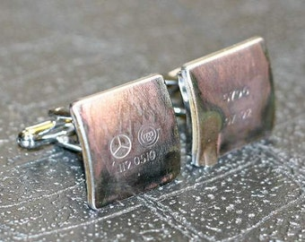 Mercedes Benz - Car Engine Part CUFFLINKS - salvaged part with original stampings of logo and part numbers.