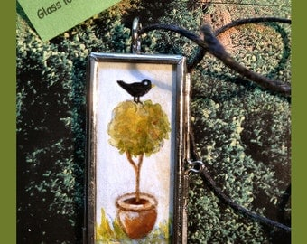 Topiary Tree Watercolor  Painting in Glass hinged Locket .