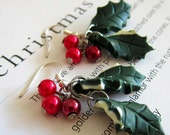 Christmas Holly Earrings - Polymer Clay