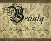Art Print 5x7 BEAUTY, Cottage Chic, vintage style, romantic, fairytale, enchanted, inspirational quote, collage