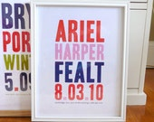 Name print nursery art in bold modern typography, CUSTOM, LARGE