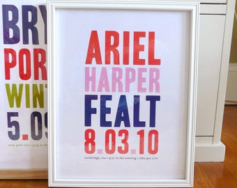 Name print nursery art in bold modern typography, CUSTOM, LARGE