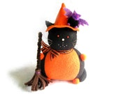 Witch Cat with pet Bat, Felt pincushion, Halloween Felt Cat, Sewing room decor, Black and Orange cat, Witch hat and broom, Purple bat, MTO