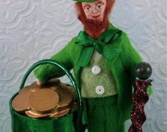 Leprechaun Doll Miniature Pot of Gold Irish Art Collectible