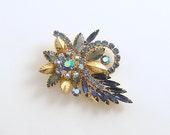 Vintage Brooch Blue Rhinestone Pin Costume Jewelry Mid Century Aurora Borealis