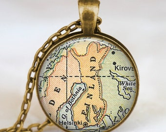 Finland country map necklace, Finland europe map pendant, Finland map jewelry , map pendant jewelry, finland charms art pendant, handmade