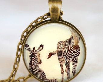 Zebra necklace  Zebra Jewelry  Zebra pendant  ,zoo animal necklace , jungle safari necklace, Zebra charm