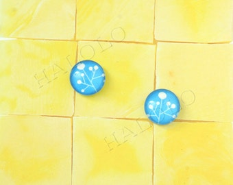Sale - 10pcs handmade light blue flowers parsley clear glass dome cabochons 12mm (12-9907)