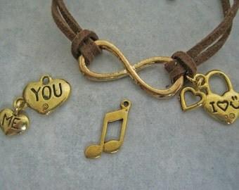 I Love You Infinity Leather Wrap Bracelet Cuff