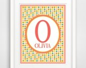 Personalized Children's Wall Art / Nursery Custom Monogram Letter Initial  and Name print by Finny and Zook