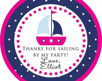 Sailboat Nautical Girl Theme Thank You PERSONALIZED Stickers, Tags, Labels, or Cupcake Toppers, various sizes, printed & shipped