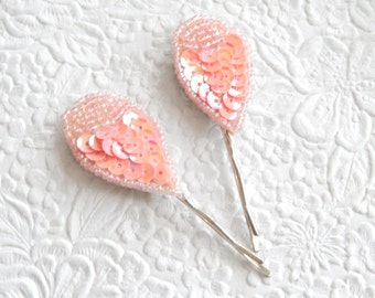 2 large peach hairpins, beaded hair-pins, sequin bobby-pins, hair accessory, womens accessory