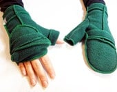 Green Convertible Xmittens Mittens, Emerald Green thread, Fingerless Gloves, Recycled Fleece, size MEDIUM