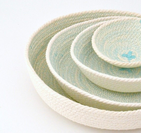 Key holder bowl, Office bowl decor, Cotton rope basket, Office organiser, Small basket storage, Set of plates, Wedding gifts, Coiled baskets