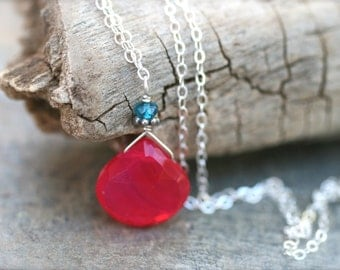 Watermelon Fuchsia Chalcedony and Apatite Gemstone Sterling Silver Necklace 16 Inches, Gemstone Necklaces,