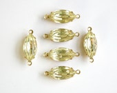 Vintage Ribbed Jonquil Glass Navettes 2 Loop Brass Setting nav001NN2