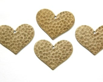 1 Hole Brass Ox Hammered Heart Charm Pendant (6) mtl100Q