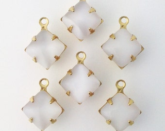 White Moonstone Square Glass Stones in 1 Loop Brass Setting 8mm (6) squ002VV