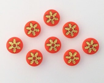 Vintage Orange and Gold Snowflake or Daisy Cabochons 7mm (8) cab205E