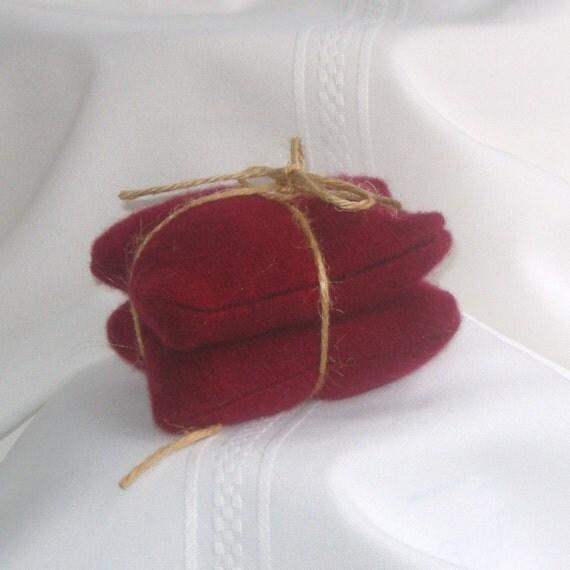 Cashmere Wool Handwarmers, dark rich red  no. 120