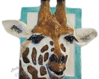 Giraffe sculpture Portrait Ceramic 3-d Tile Alexander Art IN Stock