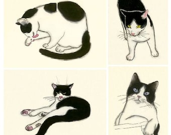 Tuxedo Cat art SALE gift set - Four Pussy cats for the price of 3!
