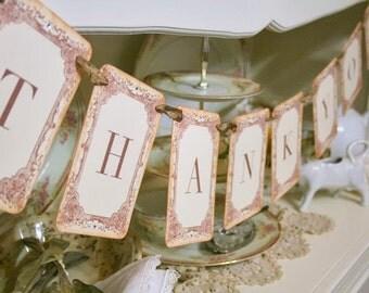 Thank You Garland / Banner Engagement Wedding Photo Prop Bridal Shower Decoration