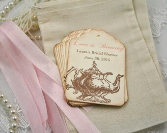 Tea Party Favor Kit DIY Muslin Bags, Teapot Tags, and Ribbon Personalized Pink Set of 10