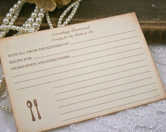 Bridal Shower Recipe Cards Bride to Be Utensils
