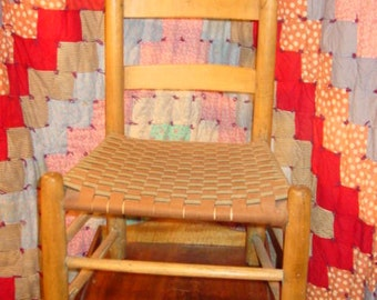 19th Century Quaker Taped Upholstery pine chair