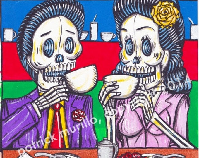 Day of the Dead Print: Happy Hour Cafe
