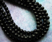 """Black Glass Beads - 4mm Round - 160 Beads - Two 10"""" Strands - Small Black Spacer Beads (CBD0003)"""
