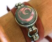 Teen Boy Gift, Jewelry for Teen Boy, Leather Wrap Bracelet for Teen Boy, Alien Symbols, Geek Jewelry, Magnetic, 3 Bracelets in 1, Steel