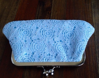 Blue Vintage Cotton Lace Clutch